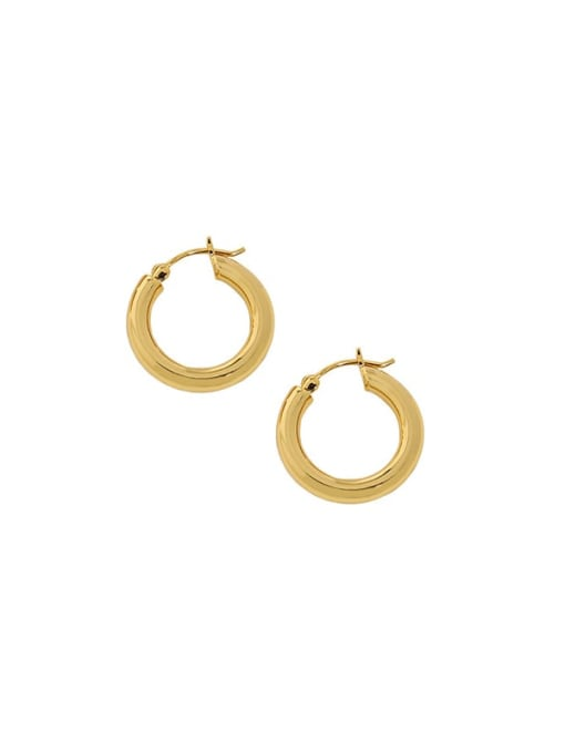18K Gold [18mm] 925 Sterling Silver Geometric Vintage Huggie Earring